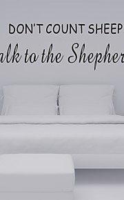 AYA™ DIY Wall Stickers Wall Decals, Don't Count Sheep English Motto PVC Wall Stickers