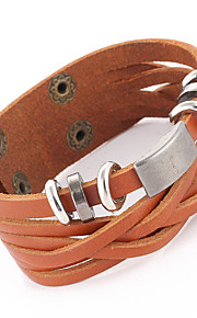 Punk Retro Waxed Cord Hand-woven Leather Bracelet Multilayer Cross Section Of Men And Women