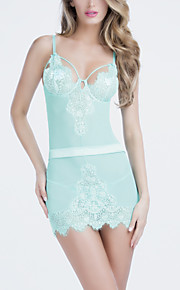 Women Embroidery V Neck Strap Chemises & Gowns / Ultra Sexy Nightwear,Nylon / Polyester
