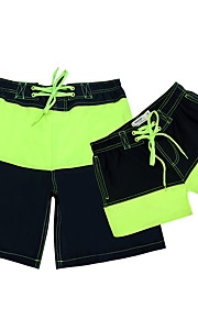 Lesmart  Mesh Quick-drying Couple Drawstring Beach Shorts Color Contrast Patchwork His-and-hers Pockets Fifth Pants