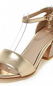 Розовый / Серебристый / Золотистый-Женская обувь-Для прогулок / Для офиса / Для праздника-Дерматин-На толстом каблуке-С открытым носком-