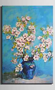 Mini Size E-HOME Oil painting Modern Pink Flower In Bottle Pure Hand Draw Frameless Decorative Painting
