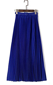 Women's Solid Blue / Pink / Red / Black Skirts,Simple Maxi