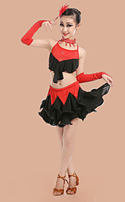 Latin Dance Outfits Children's Performance Spandex / Polyester Pleated Backless Dance Costumes(Headpieces Random Color)