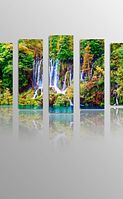Waterfall from Mountain on Canvas wood Framed 5 Panels Ready to hang for Living Decor