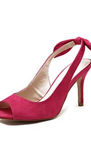 Chaussures Femme-Mariage / Extérieure / Habillé-Noir / Fuchsia-Talon Aiguille-Talons / Bout Ouvert / A Bride Arrière-Sandales-Similicuir