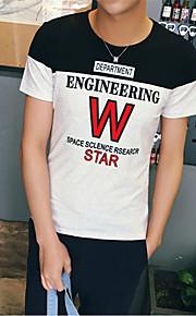 Katoen-Letter-Heren-T-shirt-Informeel / Werk / Formeel / Sport-Korte mouw