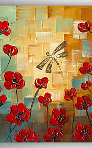 Oil Painting Red Flowers by Knife Hand Painted Canvas with Stretched Framed Ready to Hang