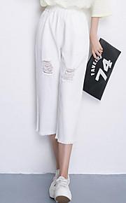 Women's Solid White / Black Wide Leg Pants,Simple