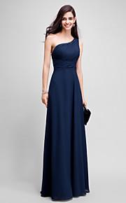 2017 ts couture® promenade del fodero del vestito da sera / colonna una spalla piano di lunghezza chiffon con perline