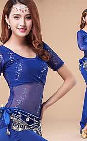 Performance Outfits Women's Performance Paillettes /Sash/Ribbon 3 Pieces Black / Blue / Fuchsia / Red Short Sleeve