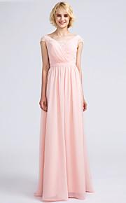 Lanting Bride Floor-length Chiffon Bridesmaid Dress Sheath / Column V-neck with Lace / Criss Cross