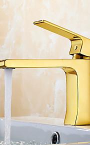 Moderne standard Tut Udspredt Foss with  Keramisk Ventil Enkelt Håndtak Et Hull for  Ti-PVD , Kjøkken Kran / Bathroom sink tappekran