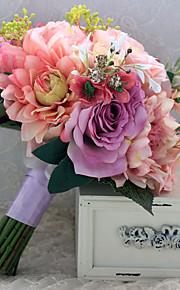 Wedding Flowers Free-form Peonies Birdal Bouquets Wedding Multi-color Satin