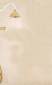 모던 / 아트 데코/레트로 주방,욕조수전(Centerset) 폭포 / 레인 샤워 / 핸드샤워 포함 / 풀아웃 스프레이 with  도자기 발브 두 핸들 두 구멍 for  티 - PVD , 샤워 수전