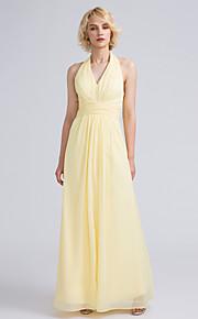 Lanting Bride Ankle-length Chiffon Bridesmaid Dress Sheath / Column Halter with Ruching