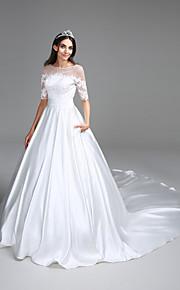 Lanting Bride Ball Gown Wedding Dress Chapel Train Bateau Satin with Appliques / Ruche / Sequin