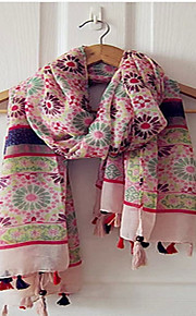 Bohemian Fringed Pink Daisy Print Female Scarf Shawl