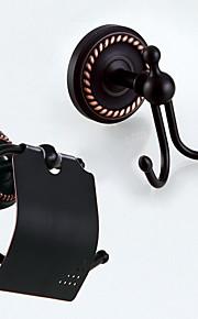Bad Zubehör-Set / WC-Rollenhalter / Kleiderhaken / Bronze, geölt / Wandmontage /20*15.5*7 /Messing /Antik /20 16 0.85