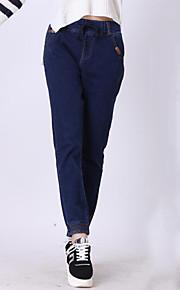 Women's Solid Blue Jeans Pants,Plus Size / Street chic