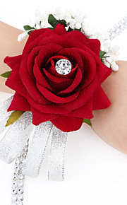 Wedding Flowers Free-form Satin Roses Wrist Corsages Wedding 1 Peice Fuchsia / Red / Green / Beige