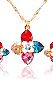 Color Crystal Jewelry Sets Clover Shape Earrings Necklace Set For Women Wedding Bridesmaid Gifts