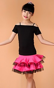 Latin Dance Outfits Children's Performance Spandex Pleated 3 Pieces Blue / Fuchsia / Green / Yellow