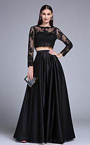 2017 ts couture® Prom abito da sera formale una linea Satin gioiello pavimento-lunghezza pizzo / stretch con appliques