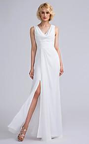 Lanting Bride Floor-length Chiffon Bridesmaid Dress Sheath / Column V-neck with Ruching