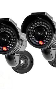 kingneo301s telecamera di sorveglianza esterna simulato l'energia solare Videocamera di sicurezza fittizia con flash LED 2pc nero