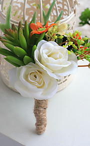 Wedding Flowers Free-form Roses / Peonies Boutonnieres Wedding / Party/ Evening Beige Satin