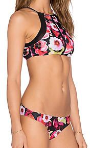 De las mujeres Bikini-Retro / Monocolor / FloralCon Cordones-Poliéster