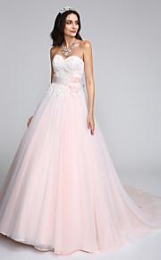 Lanting Bride® Trapèze Robe de Mariage  Traîne Chapelle Coeur Tulle avec Appliques / Noeud