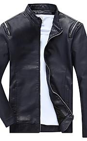 Herren Solide Retro Einfach Street Schick Ausgehen Lässig/Alltäglich Übergröße Jacke,Herbst Winter Langarm Blau Rot Schwarz GelbMittel