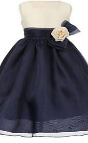 Robe de Soirée Mi-long Robe de Demoiselle d'Honneur Fille - Organza Sans Manches Carré avec Noeud(s) / Fleur(s) / Ceinture / Ruban