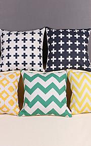 "Modern Style Linen Pillow Case 17"" by 17"" Geometric Pattern"