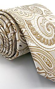 Men's Paisley Yellow Tie 100% Silk Business Dress Casual Long