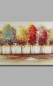 Stretched (Ready to hang) Hand-Painted Oil Painting 90cmx60cm Canvas Wall Art Modern Abstract Trees Blue Red