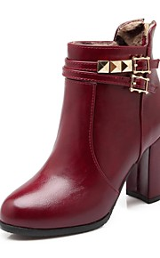Women's Boots Fall / Round Toe PU Office & Career / Casual Chunky Heel Buckle Black / Beige / Burgundy Others