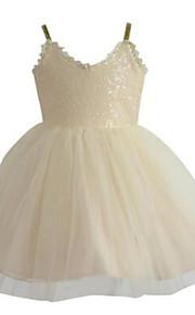 Robe de Soirée Mi-long Robe de Demoiselle d'Honneur Fille - Tulle / Pailleté Sans Manches Bretelles Fines avec Paillettes