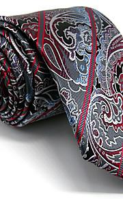 Men's Dark Gray Paisley Tie 100% Silk Business Necktie Dress Casual Long