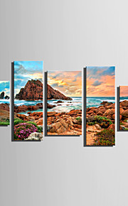 E-HOME® Stretched Canvas Art Coastline Scenery Decoration Painting  Set Of 5