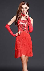 Latin Dance Dresses Women's Performance Chinlon / Milk Fiber Paisley Rhinestones / Tassel(s) 4 Pieces Dance Costumes