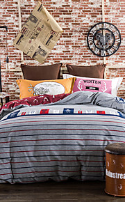 Gray striped 800TC bedding sets Queen King size Bedlinen printing sheets pillowcases Duvet cover sanding Cotton Fabric