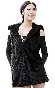 Women's Plus Size / Casual/Daily / Party/Cocktail Sexy / Simple Fur Coat,Solid Hooded Sleeveless Fall / Winter White /