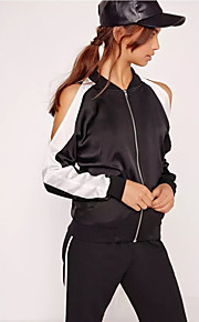 Women's Casual/Daily Street chic Spring / Fall Jackets,Patchwork Stand Long Sleeve Black Polyester Medium