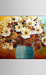Ready to Hang Stretched Frame Hand-Painted Flower Oil Painting Canvas Wall Art Home Restaurant Decor