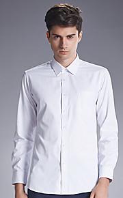 Camisa De los hombres Un Color Casual-Algodón-Manga Larga-Negro / Azul / Rosa / Morado / Blanco