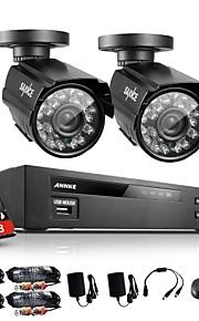 annke® 4-kanals 960h hdmi dvr 2stk 800tvl ir udendørs vejrbestandige CCTV kamera hjem sikringssystem kits med 1TB