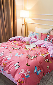 Butterfly 800TC bedding sets Queen King size Bedlinen printing sheets pillowcases Duvet cover sanding Cotton Fabric